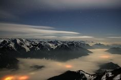 Sea of clouds under the influence of foehn wind above Mt. Wendelstein, Norway