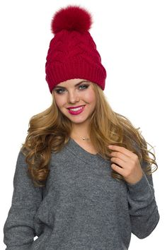 0da2f60856a Pom pom hat with fleece Winter hat for women PomPom beanie Big Hats