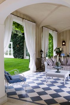 The loggia of Friuli house, designed by architect Michele Bonon and Florentine landscape designer Nicolo Grassi, via OMG, I Want This House: Italian Manor Edition - The Daily Beast Outdoor Rooms, Outdoor Living, Outdoor Decor, Outdoor Curtains, Exterior Design, Interior And Exterior, Interior Garden, Outside Living, Backyard Patio