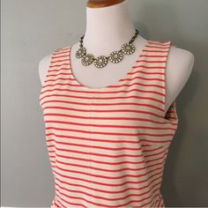 """[J. Crew] Stripe Zip Back Dress Get free shipping! Offer $6 off listed price for automatic acceptance!  This stretchy (read: comfortable) dress is high on polish, low in effort. Plus, we always love a good stripe. Cotton / spandex. Bra keeps. Exposed back zip. On seam pockets. Dry clean. 18"""" bust, 15.5""""-19"""" waist, 38"""" long.   110216J J. Crew Dresses"""