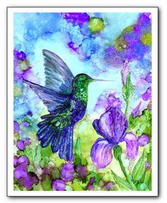 Original Humming Bird Among the Irises Alcohol Ink painting on Yupo paper by HeidiStavingaStudio on Etsy Alcohol Ink Tiles, Alcohol Ink Crafts, Alcohol Ink Painting, Alcohol Inks, Alcohol Markers, Purple Iris Flowers, Collage, Bird Art, Beautiful Paintings