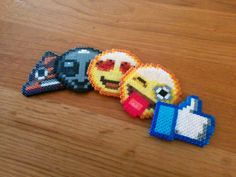 YOUR CHOICE Custom Hama Perler Bead Emoji Emoticon Face Keychain Pin Jewelry or Magnet on Etsy, $4.00