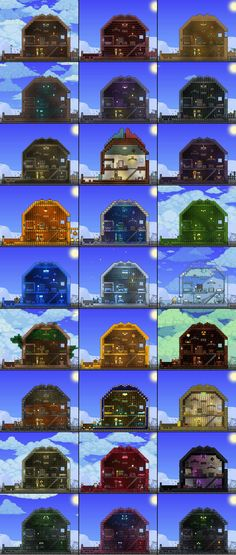 Types if building blocks in Terraria. Compare them to see what the best is for… Terraria House Design, Terraria House Ideas, Terraria Tips, Minecraft Medieval, Minecraft Creations, Biomes, Pixel Art, Game Art, Building