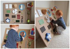 DIY Sensory Board for Baby - perfect for the open space under bench that stores wires for the TV - double function (play and baby proof)