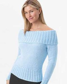 Free Knitting Pattern - Women's Sweaters: Off Shoulder Sweater