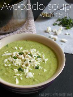 Avocado soup with feta