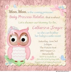 Customized to match a castle-themed nursery with cute owls, this princess whoo baby shower invitation starts your fairytale in forest style!