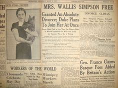 Image result for october 27, 1936 the guardian pg 10 wallis simpson divorce