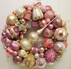 Shabby Cottage Chic Vintage Christmas Ornament Wreath in Pink, Gold and White with Tree Topper, Sequins, Lace and Pearl Beads by FiveandDimeDesign on Etsy https://www.etsy.com/listing/249692836/shabby-cottage-chic-vintage-christmas
