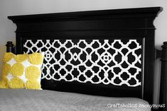 DIY headboard makeover on the cheap! Use your Silhouette and some vinyl for a fabulous updated headboard.