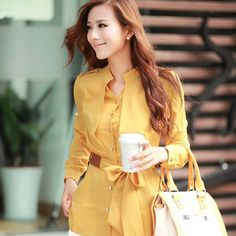 Candy Colors Elegant Women Career Chiffon Blouses Size S-2XL Classic Design Temperament Lady Office Shirt