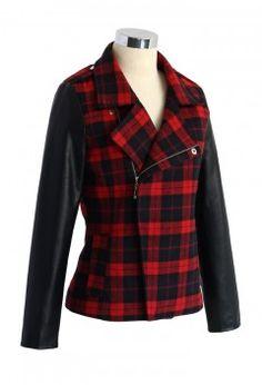 Red Tartan Leather Sleeves Biker Jacket