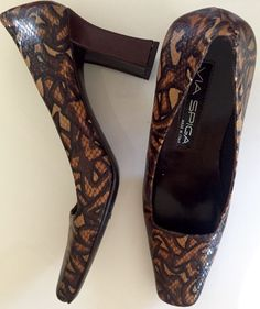 New VIA SPIGA MADE ITALY Brown  LEATHER SQUARE TOE & HEEL WOMENS SHOES Sz 7.5 N  | eBay