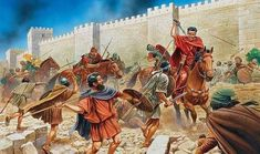 Titus cuts his way free of an ambush under the walls of Jerusalem - Peter Dennis Ancient Rome, Ancient History, Fall Of Jerusalem, Roman Soldiers, Medieval World, Roman History, Historical Artifacts, Historical Pictures, Illustrations
