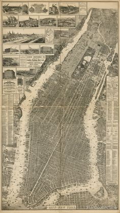 """Old School NYC: a bird's-eye perspective view of New York City, was created by Will L. Taylor (""""chief draftsman""""), and published by Galt & Hoy of New York in New York City Map, City Maps, Vintage New York, Lower Manhattan, Manhattan Map, Old Maps, Antique Maps, Parcs, Urban Design"""