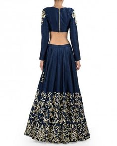 Midnight Blue Lengha Set with Zardozi Embroidery