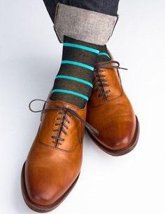 Navy with Ceramic Stripe Mercerized Cotton Socks Linked Toe Cotton Mid Calf