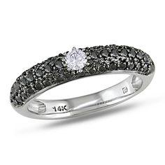 Miadora 14k White Gold 1/2ct TDW Black and White Diamond Engagement Ring