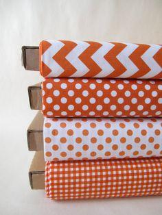 Orange Fabric Fat Quarter FQ Bundle Small Dots by minimushrooms