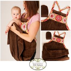 Sewing pattern for a great baby shower gift!  A Baby Bath Apron Towel! Makes getting those slippery babies out of the bath much easier! Sweet sewing genius bet you could make a fortune selling these