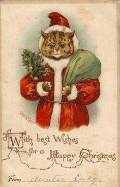 Cat Card Louis Wain Santa Father Christmas Cat Unlisted   eBay