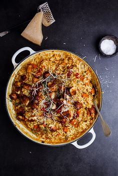 Creamy pumpkin risotto with haloumi and chilli makes for a wonderfully comforting Fall meal.