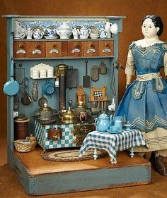 Bittersweet - October 2017 in Scottsdale, Arizona: 289 Century Wooden Toy Kitchen with Unique Stove and Accessories Antique Dollhouse, Dollhouse Dolls, Miniature Dolls, Dollhouse Miniatures, Wooden Toy Kitchen, Wooden Toys, Dora, Old Dolls, Doll Furniture