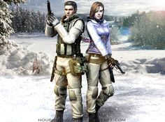 Jill Valentine and Chris Redfield by NourhanNivans.deviantart.com on @DeviantArt