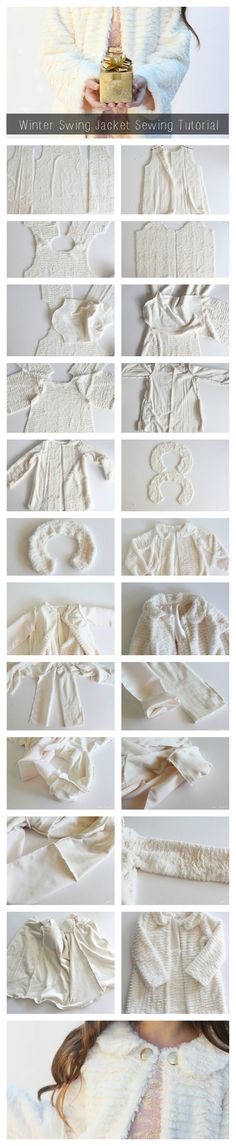 Create a Luxury Fur Coat with this sewing tutorial and free pattern from Stefanie Knaus. | DIY Fashion | Girl's Formal Swing Jacket | Sewing for Kids