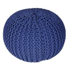 Knitted Cable Pouf Blue now featured on Fab.