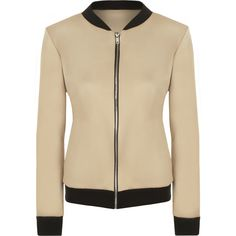 Yuki Long Sleeve Bomber Jacket (£15) ❤ liked on Polyvore featuring outerwear, jackets, camel, camel jacket, brown bomber jacket, flight jacket, zip jacket en long sleeve jacket