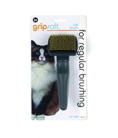 JW Cat Brush by Petmate combines a slicker brush and a pin brush for daily grooming tasks. It is great at removing shedding fur and helps to prevent hairballs. Gripsoft handle is comfortable for pet owners.  www.petmate.com