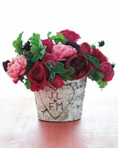 Birching for the One- birch bark pot for red and pink roses