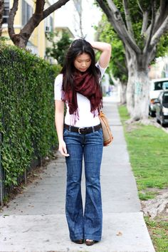 "Love this simple casual outfit. from clothedmuch - ""maroon scarf (gift from a blog friend), H white shirt ($10), Old Navy brown belt ($10 - buy it!), secondhand Gap flared jeans ($9), and Target clog sandals (gift from my in-laws) with a vintage Gucci bucket bag ($3)."""