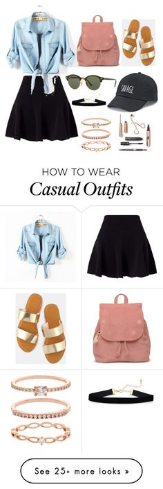 casual outfit by werneckcaca on Polyvore featuring Miss Selfridge, TOMS, Ray-Ban, SO and Accessorize