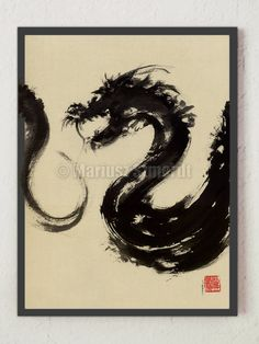 japanese-wall?ref=shop_home_active_1 #abstractart #abstract #dragon #originalart #painting #japanese #calligraphy