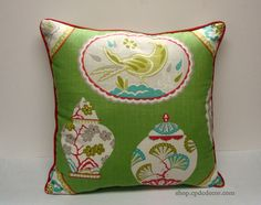 Imperial Treasure Pillow Cover, Green, Pink, Turquoise Blue and Gray Linen blend Braemore fabric with pink self cording and invisable zipper on Etsy, $75.00