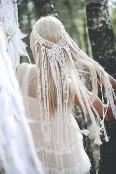 Wedding Hats, Headpiece Wedding, Wedding Veil, Gypsy Wedding, Ethnic Wedding, Crafty Wedding Ideas, Macrame Headband, Boho Chic, Boho Bridal Hair