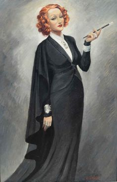 Marlene: Portrait of Marlene Dietrich   From a unique collection of figurative paintings at https://www.1stdibs.com/art/paintings/figurative-paintings/