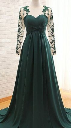 Cheap evening gown, Buy Quality vestidos de fiesta directly from China evening dress lace Suppliers: 2017 A-Line Long Sleeve Chiffon Pleat Sweetheart Evening Dress Lace Appliques Court Train Evening Gowns vestidos de fiesta Green Evening Gowns, Prom Dresses Long With Sleeves, Chiffon Evening Dresses, Evening Party, Lace Chiffon, Elegant Evening Gowns, Green Gown, Long Dresses, Dresses Elegant