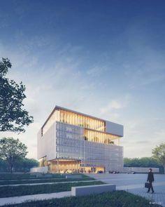 "BroekBakema design ""green Landmark"" Headquarters for Océ Office Building Architecture, Retail Architecture, Concept Architecture, Architecture Design, Box Building, Building Facade, Exterior Rendering, Timber Structure, Architecture Visualization"