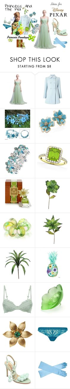 """""""Ideas For Disney Pixar: Princess and The Pea: Penelope Princess Style"""" by mimi-world on Polyvore featuring Miss Selfridge, NOVICA, Kenneth Jay Lane, Anne Klein, Allurez, Agraria, Bling Jewelry, La Perla, Lalique and Topshop"""