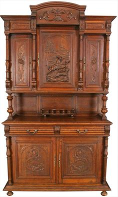 WOW ANTIQUE FRENCH CARVED OAK HENRY II BUFFET HUNTING SCENE TURNED COLUM #HenryII #EuroLuxHome