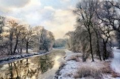 Winter landscape with river - digital painting / Snowy view. River Painting, Fine Art Photo, Winter Landscape, Mother Nature, Explore, Wall Art, Photography, Outdoor, Digital Art
