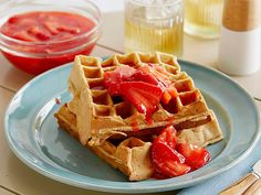 Buttermilk Waffles with Homemade Strawberry Sauce Recipe : Patrick and Gina Neely : Food Network - FoodNetwork.com