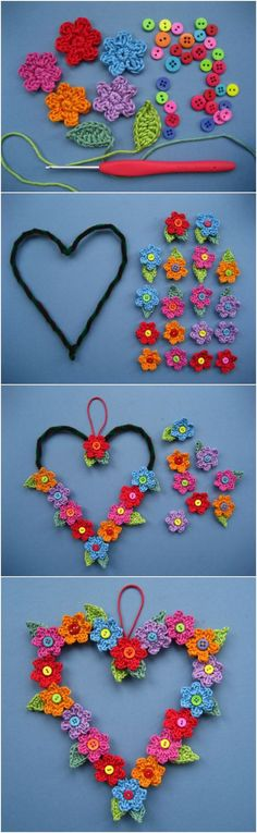 crochet flowers design Crochet Heart Wreath with Button Flowers Free Pattern - Watch the Crochet Button Flowers Video and learn how to create your own quickly and easily. You will love this collection of free patterns. Appliques Au Crochet, Crochet Flower Patterns, Crochet Motif, Crochet Flowers, Knitting Patterns, Crochet Hearts, Knitting Ideas, Baby Knitting, Crochet Home