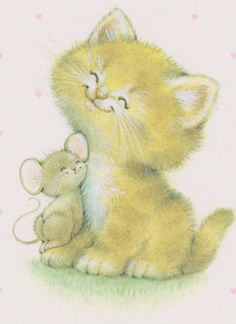 Ruth Morehead - Smiling Kitten with Nuzzling Mouse