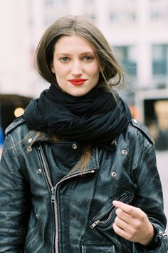 leather jacket + red lips.