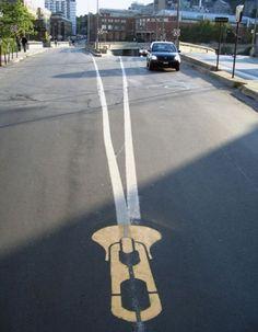 street art by Canadian artist Roadsworth
