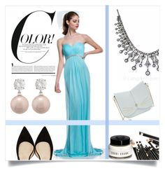 Bodenlang aus Chiffon traumhaftes Abendkleid by johnnymuller on Polyvore featuring Jimmy Choo, Ted Baker, Jankuo and Bobbi Brown Cosmetics